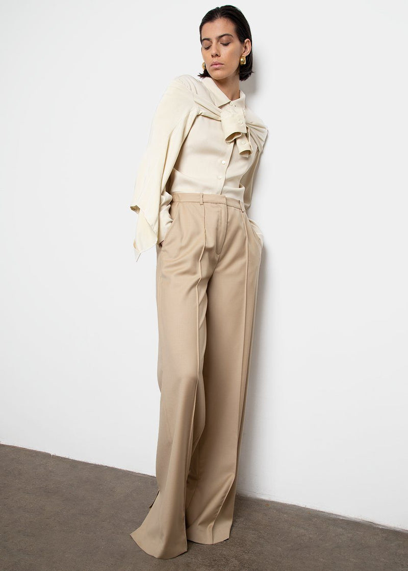Rapa Wide Leg Pants by Loulou Studio- Beige Pants Loulou Studio