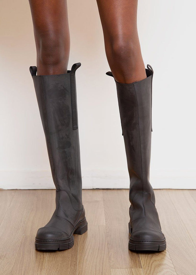 Recycled Rubber Country Boot by GANNI in Black boots Ganni