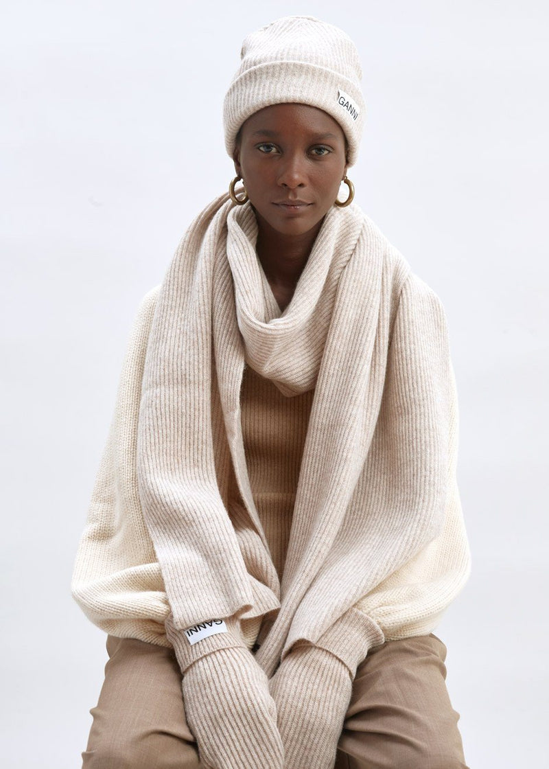 Recycled Wool Knit Hat by GANNI in Brazilian Sand Hat Ganni