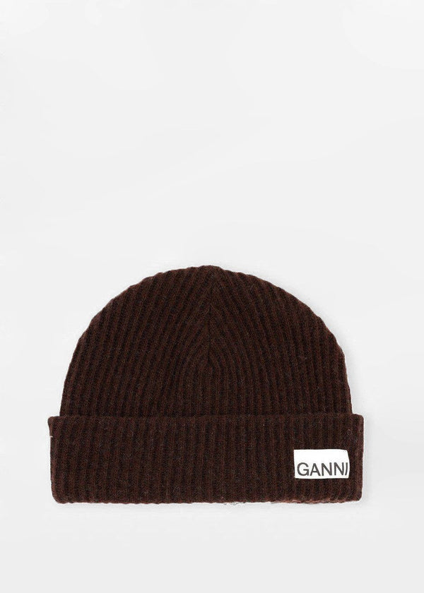 Recycled Wool Knit Hat by GANNI in Chicory Coffee Hat Ganni
