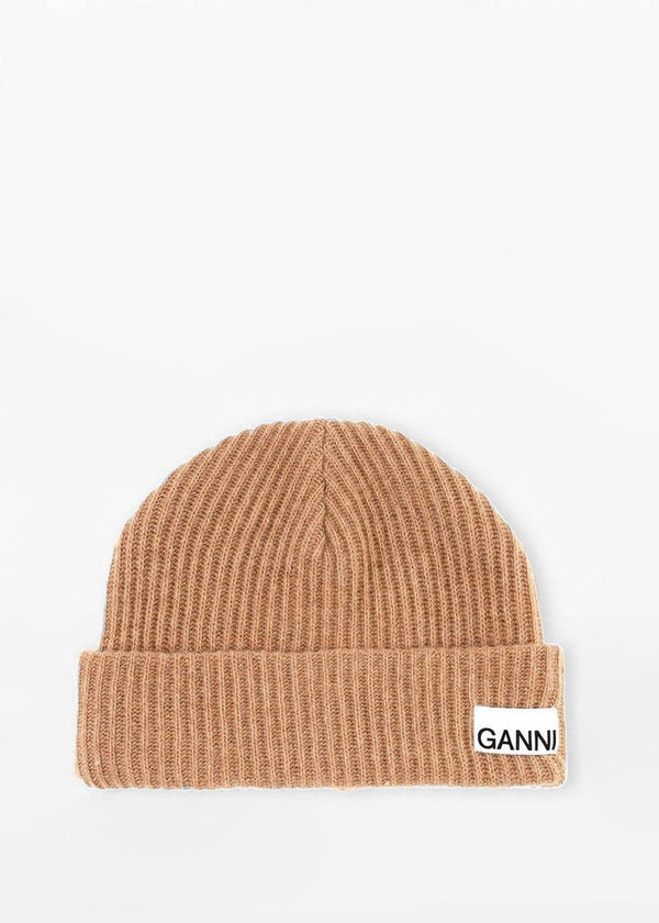 Recycled Wool Knit Hat by GANNI in Tiger's Eye Hat Ganni
