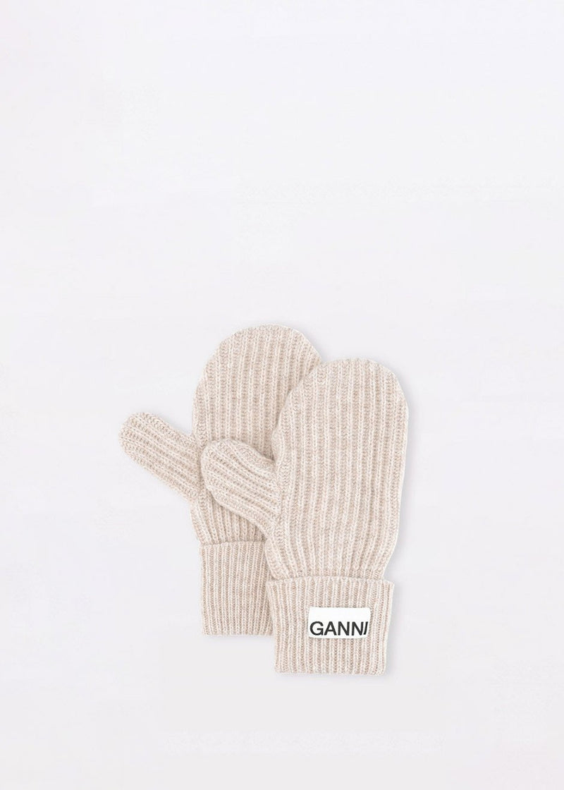 Recycled Wool Knit Mitten Gloves by GANNI in Brazilian Sand Gloves Ganni