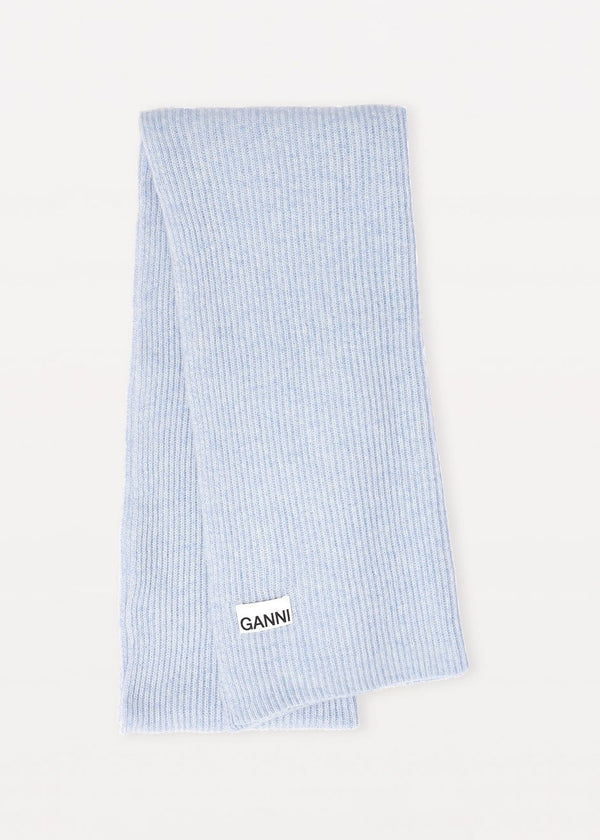 Recycled Wool Knit Scarf by GANNI in Heather Scarf Ganni