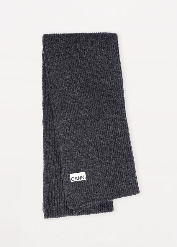 Recycled Wool Knit Scarf by GANNI in Phantom Scarf Ganni