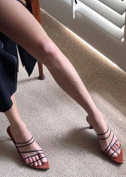 Reike Nen Pointy Heeled Sandals- Black & Rose Pink Shoes Reike Nen
