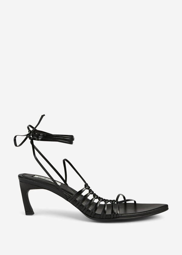 Reike Nen Pointy Lace-Up Sandals- Black Shoes Reike Nen