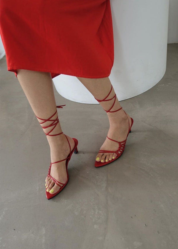 Reike Nen Pointy Lace-Up Sandals- Red Shoes Reike Nen