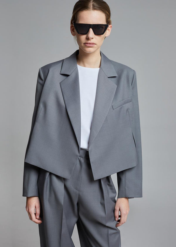 Renata Cropped Blazer in Steel Grey Jacket More than Yesterday