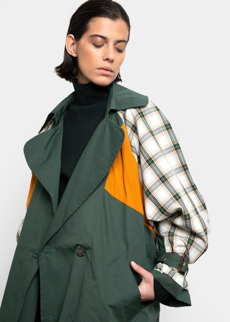 Reversible Forest Green Plaid Trench Coat trench breakfast