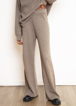 Rib Knit Lounge Pant in Mushroom Pants The Frankie Shop