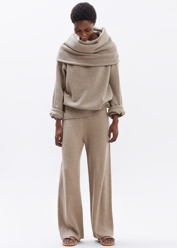 Rib Knit Lounge Pant in Sand Dune Pants The Frankie Shop