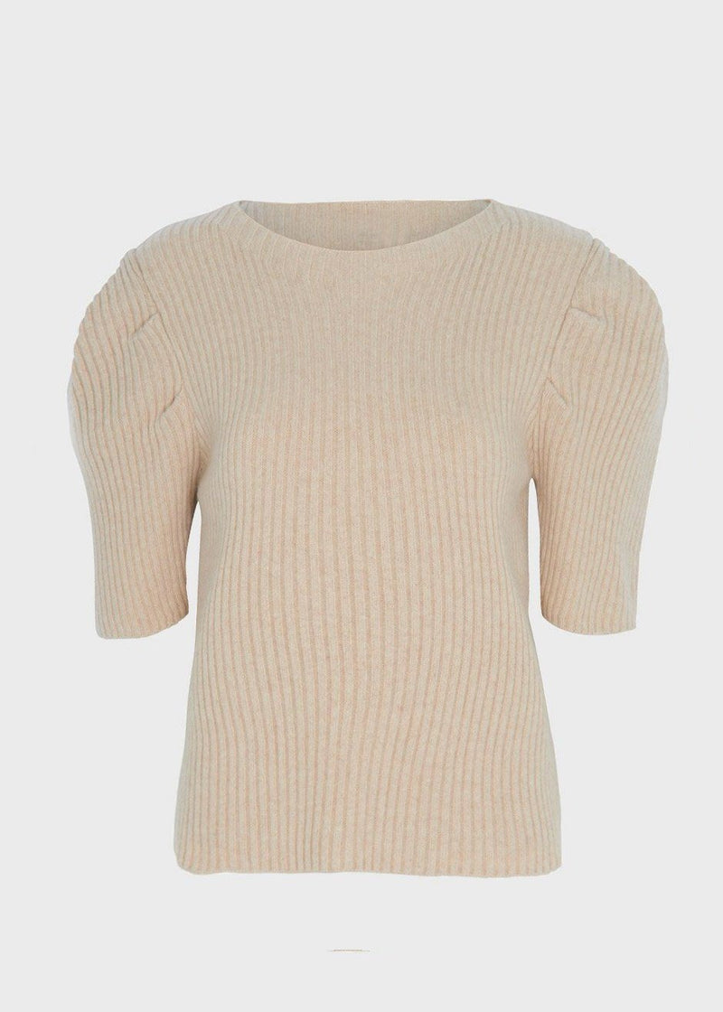 Ribbed Balloon Sleeve Sweater in Sesame Sweater T.A