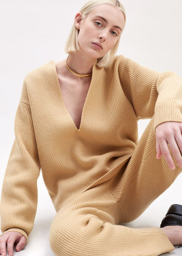 Ribbed Deep Split Neck Sweater in Butter Sweater The Frankie Shop