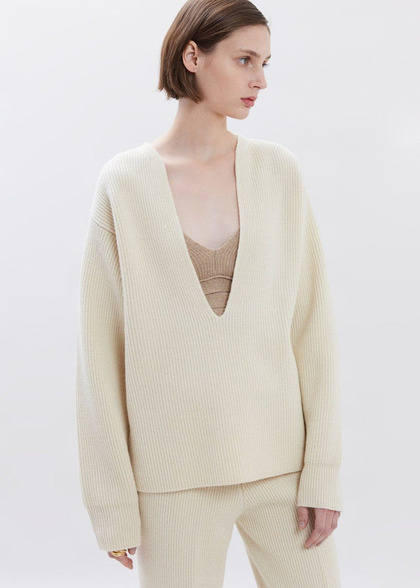 Ribbed Deep Split Neck Sweater in Eggnog Sweater The Frankie Shop