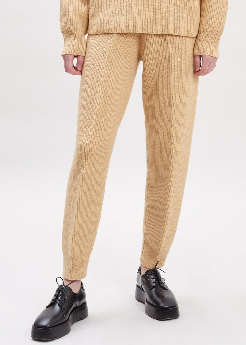 Ribbed Tapered Lounge Pants in Butter Pants The Frankie Shop