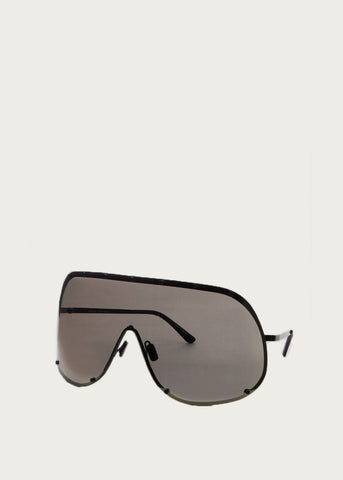 Rick Owens Mask Shield Sunglasses in Black and Gold Mirror sunglasses Rick Owens