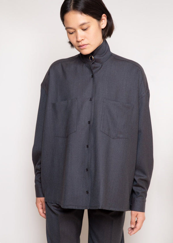 Robin High Neck Shirt by Remain Birger Christensen in Asphalt Melange Shirt Remain