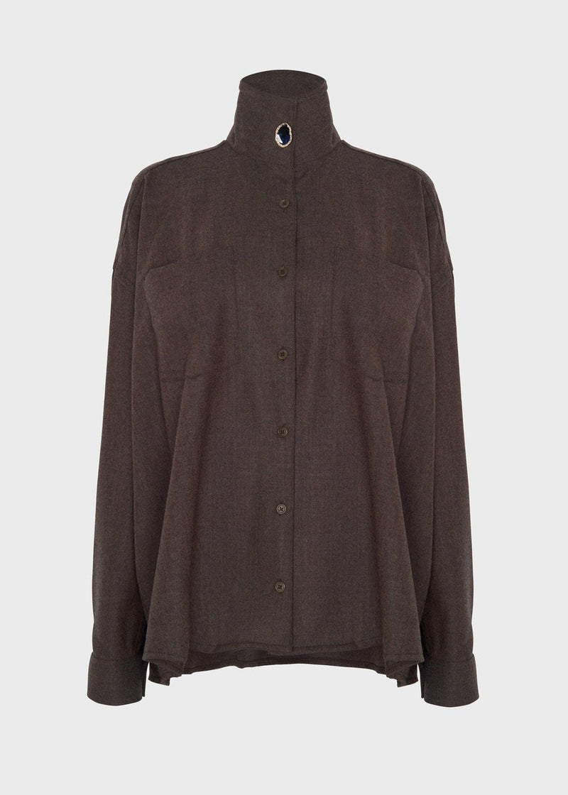 Robin High Neck Shirt by Remain Birger Christensen in Carafe Melange Shirt Remain