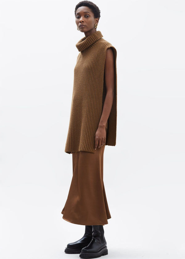 Roll Neck Poncho Knit in Toffee Poncho Paper Moon