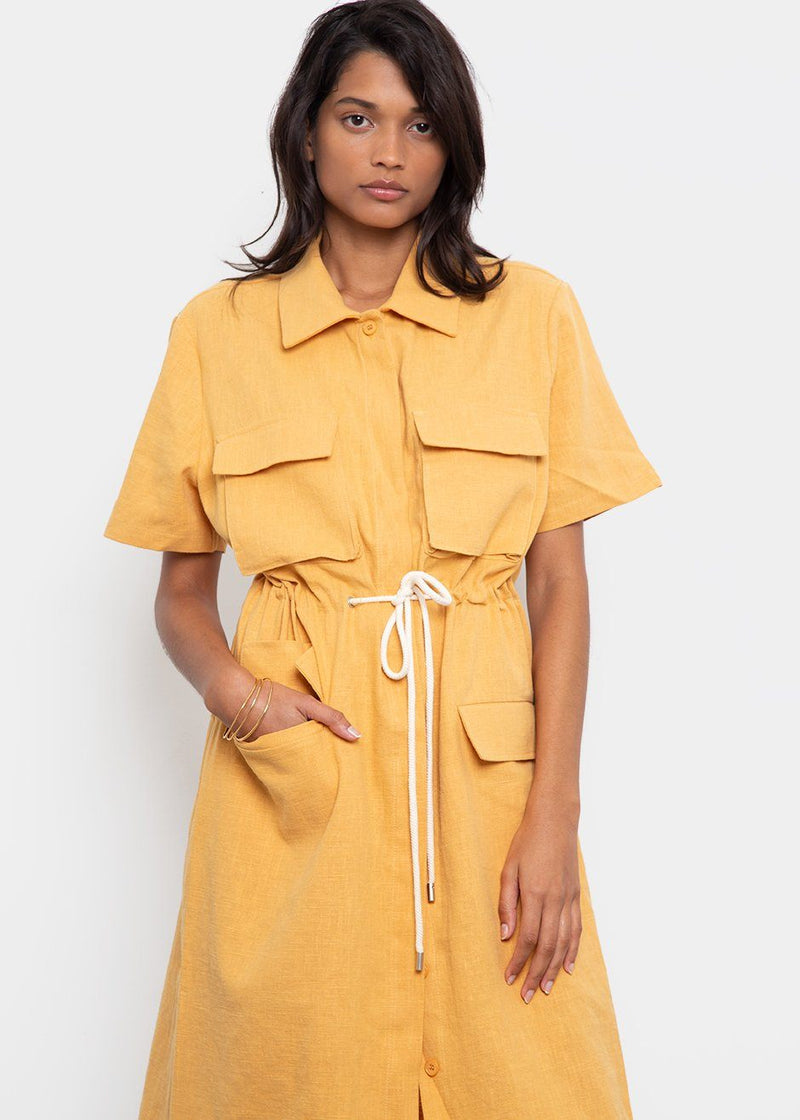 Rope Tie Linen Pocket Dress- Mandarin Dress Beside You