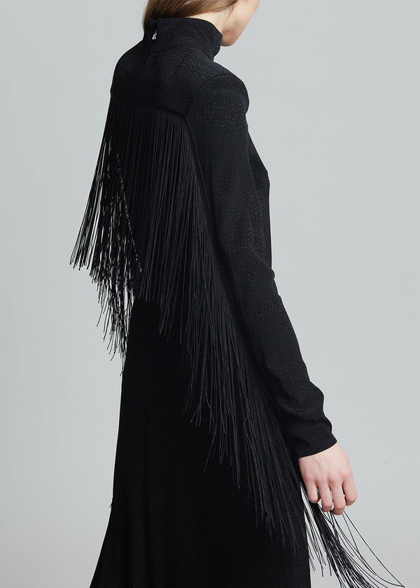 ROTATE Reba Fringe Dress in Black Dress Rotate