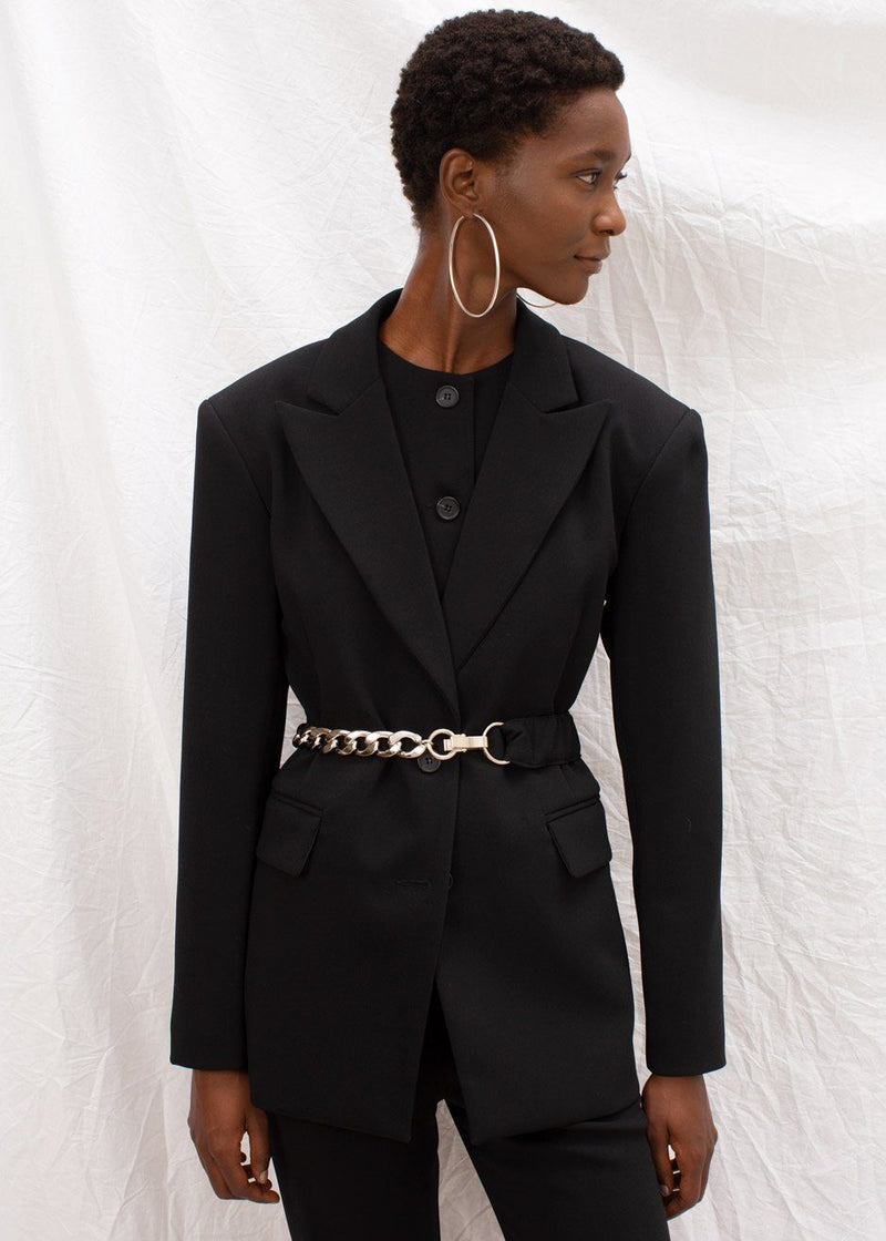 Ruched Chain Belt Blazer in Black Blazer The Frankie Shop