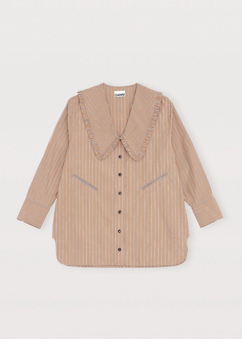 Ruffle Collar Striped Oversized Blouse by GANNI in Tiger's Eye Blouse Ganni