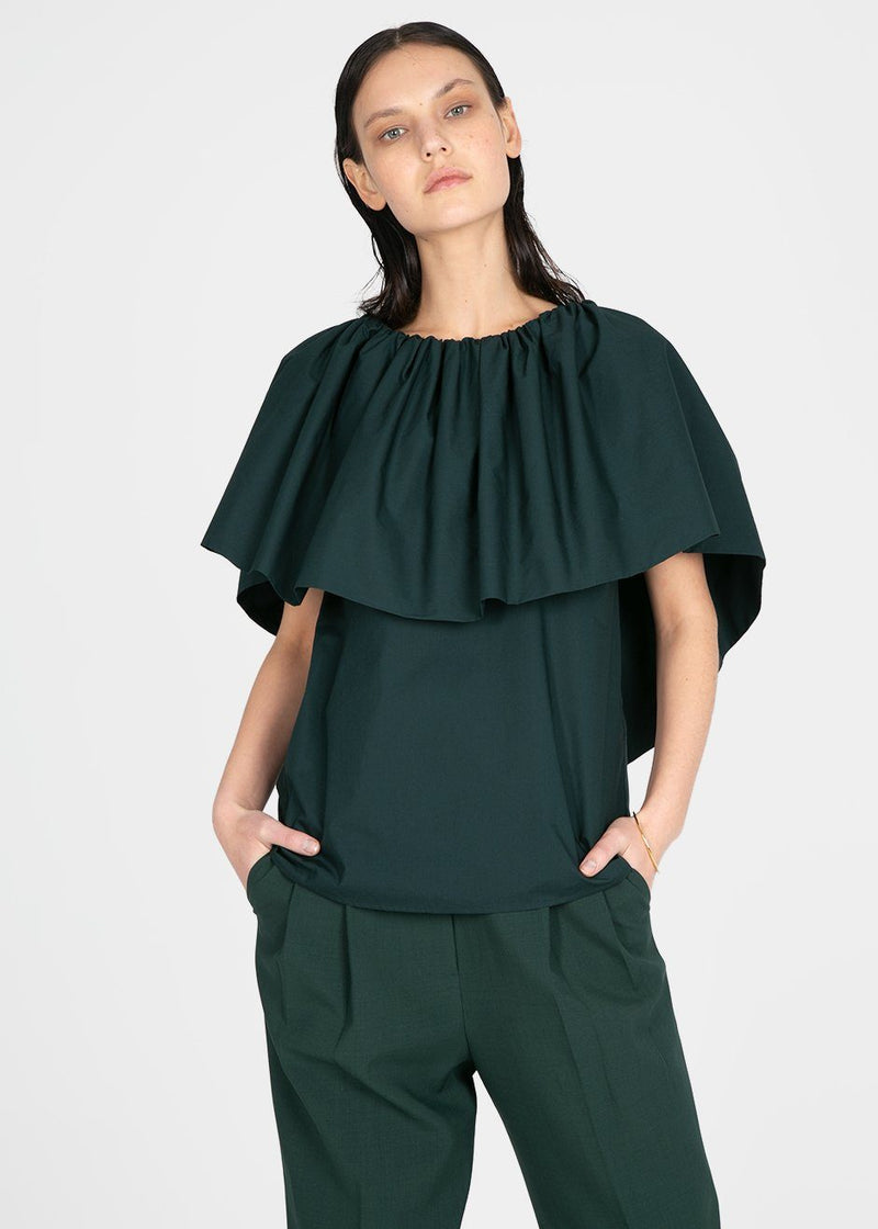 Ruffle Top by Ter et Bantine- Dark Bottle Green Top Ter et Bantine