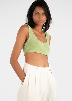 Rus Aurore Knit Bralette- Pale Green Top Rus the Brand