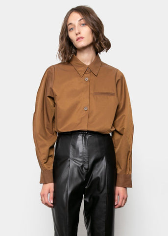 Russet Button Shirt With Pinched Seam Shirt Kare