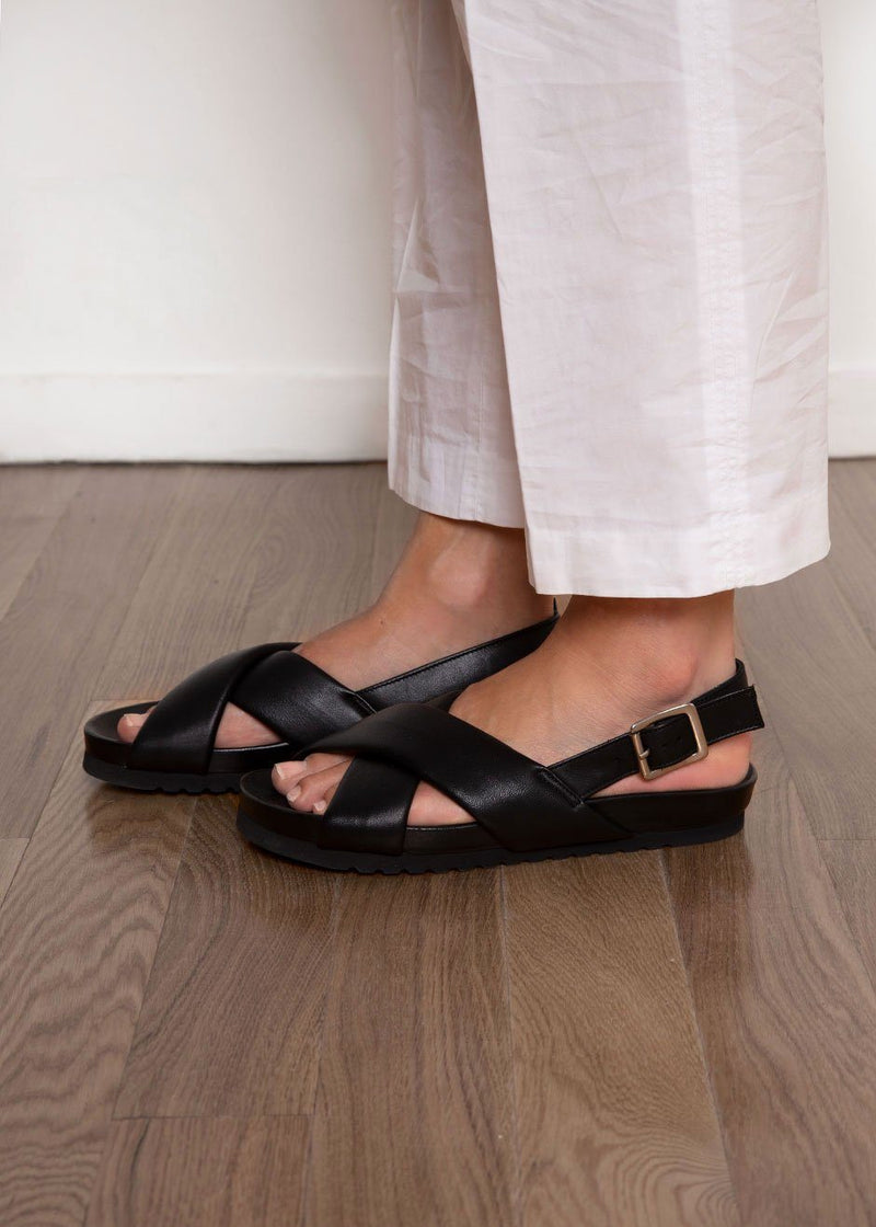 SAMSOE BLACK CRISS CROSS FLAT Shoes samsoe