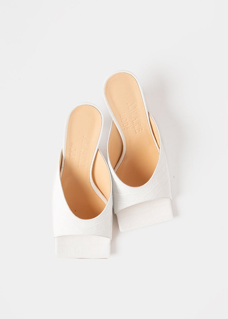 Sasha Leather Mules by A.W.A.K.E MODE- White shoes Awake Mode