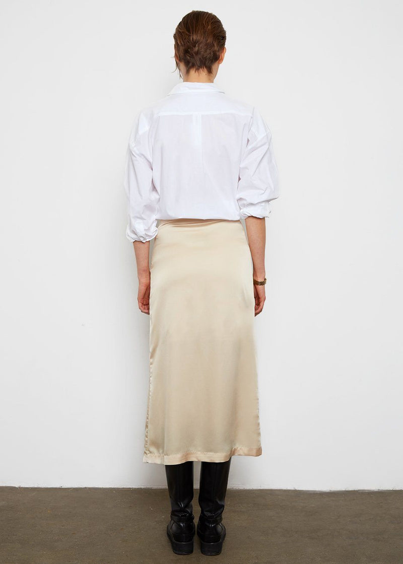 Satin A-Line Skirt- Corn Silk Skirt The Wave