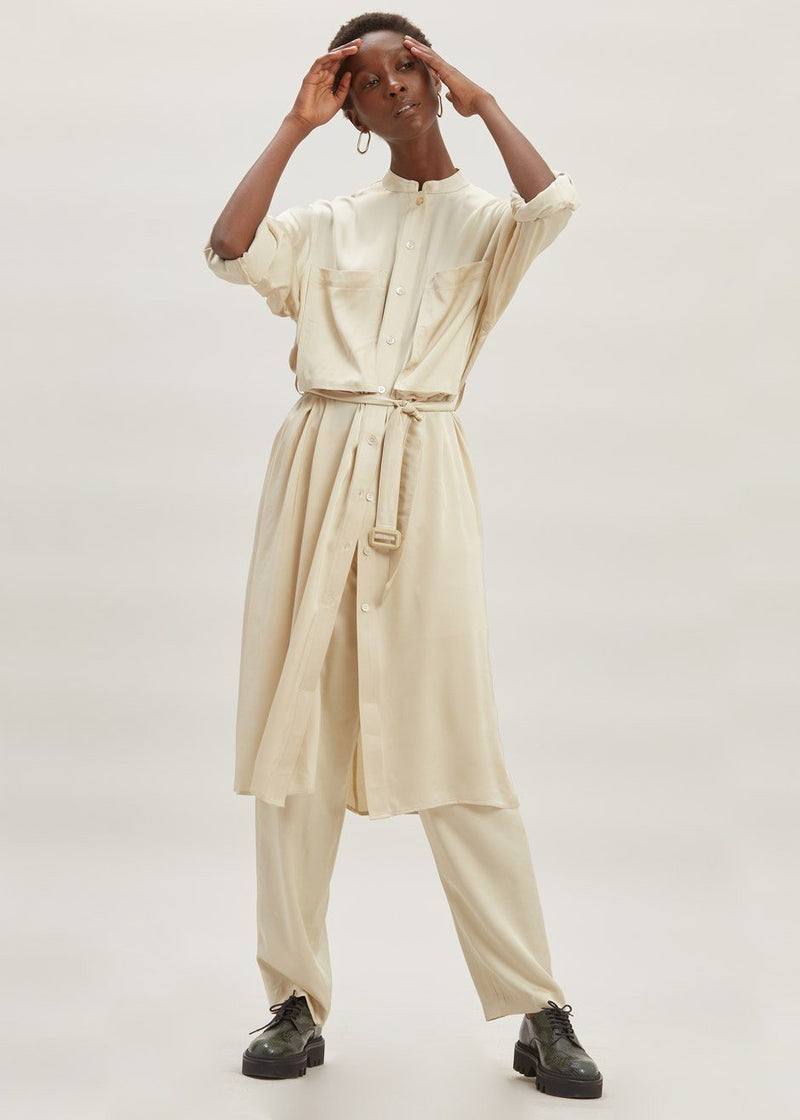 Satin Belted Midi Shirt Dress in Pearl Dress second hotel