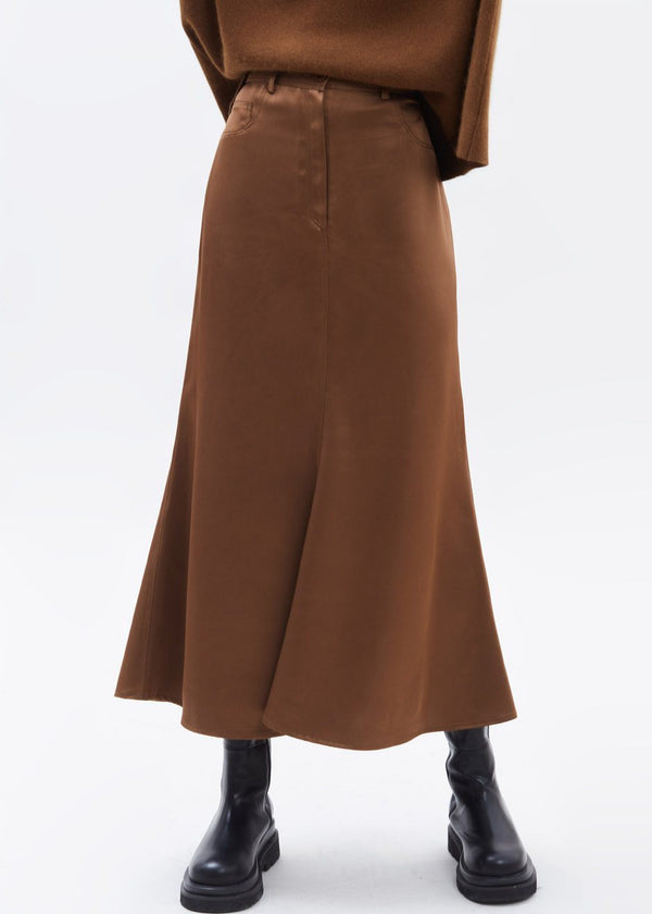 Satin Fluted Midi Skirt in Toffee Skirt Paper Moon