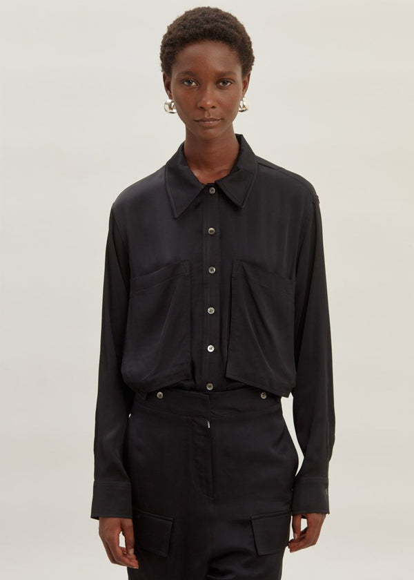 Satin Oversized Pocket Shirt in Black Top second hotel