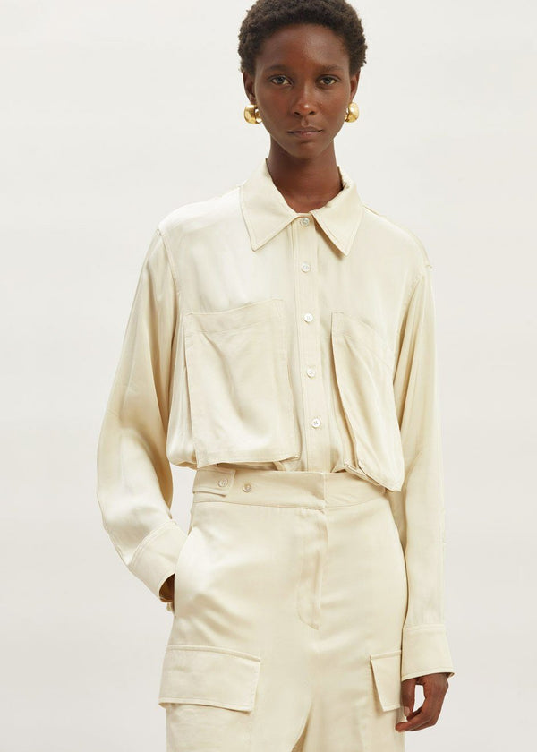Satin Oversized Pocket Shirt in Pearl Top second hotel