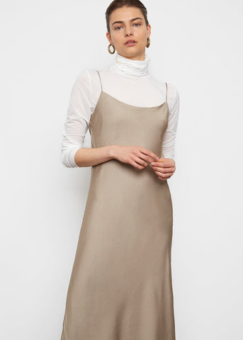 Satin Slip Dress- Mocha Sheen Dress Come And Get