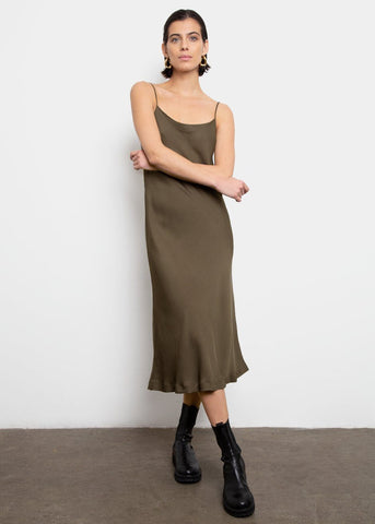 Satin Slip Dress- Moss Green Dress Come And Get