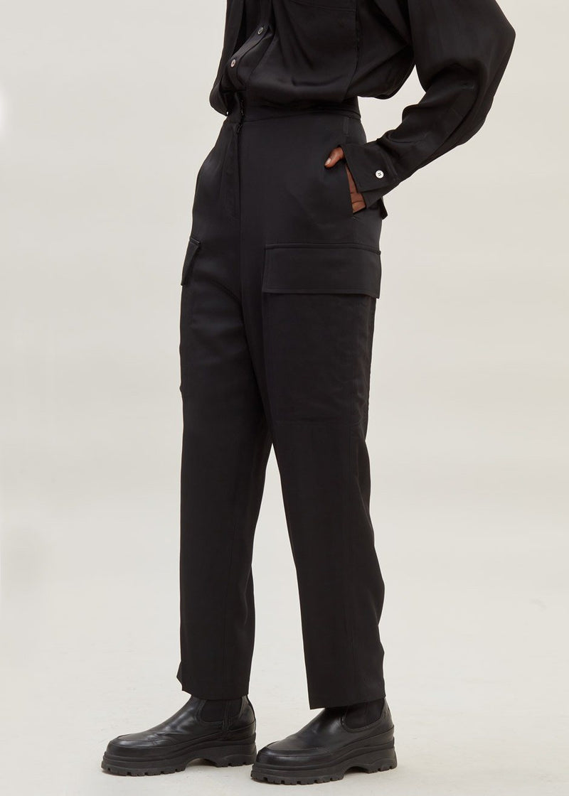 Satin Tailored Cargo Trousers in Black Pants second hotel