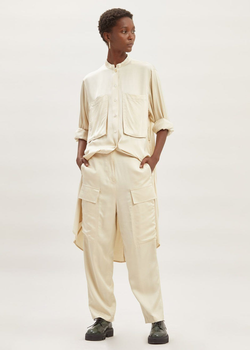 Satin Tailored Cargo Trousers in Pearl Pants second hotel