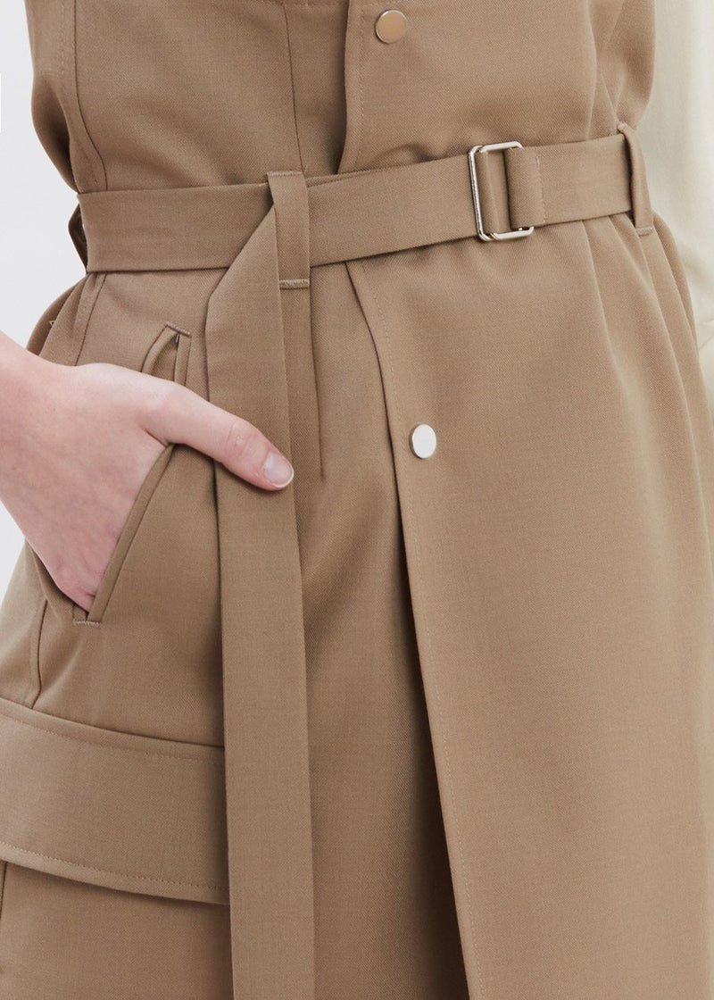 Scarlett Asymmetric Skirt by Covert in Khaki Skirt Covert