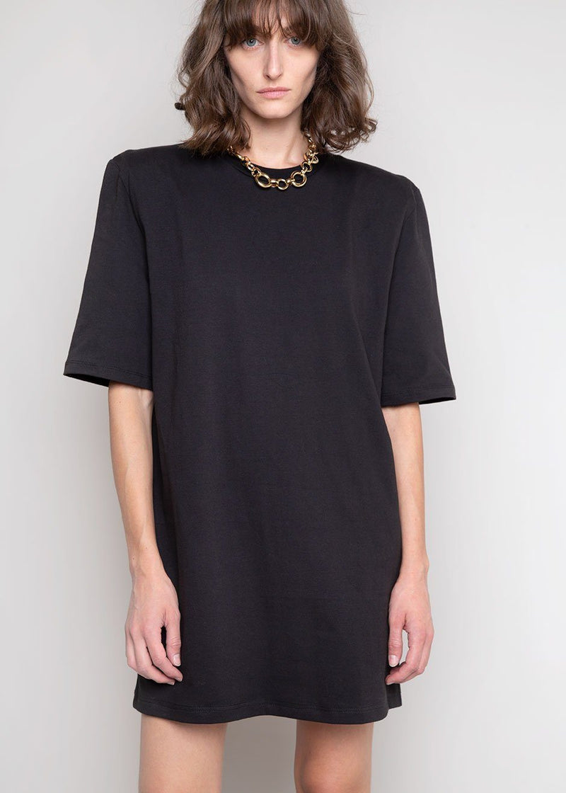 Sean Padded Shoulder Dress in Black Dress The Frankie Shop