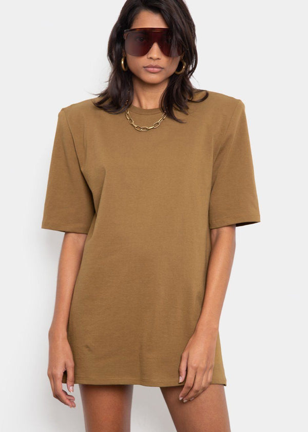 Sean Padded Shoulder Dress in Olive Dress The Frankie Shop
