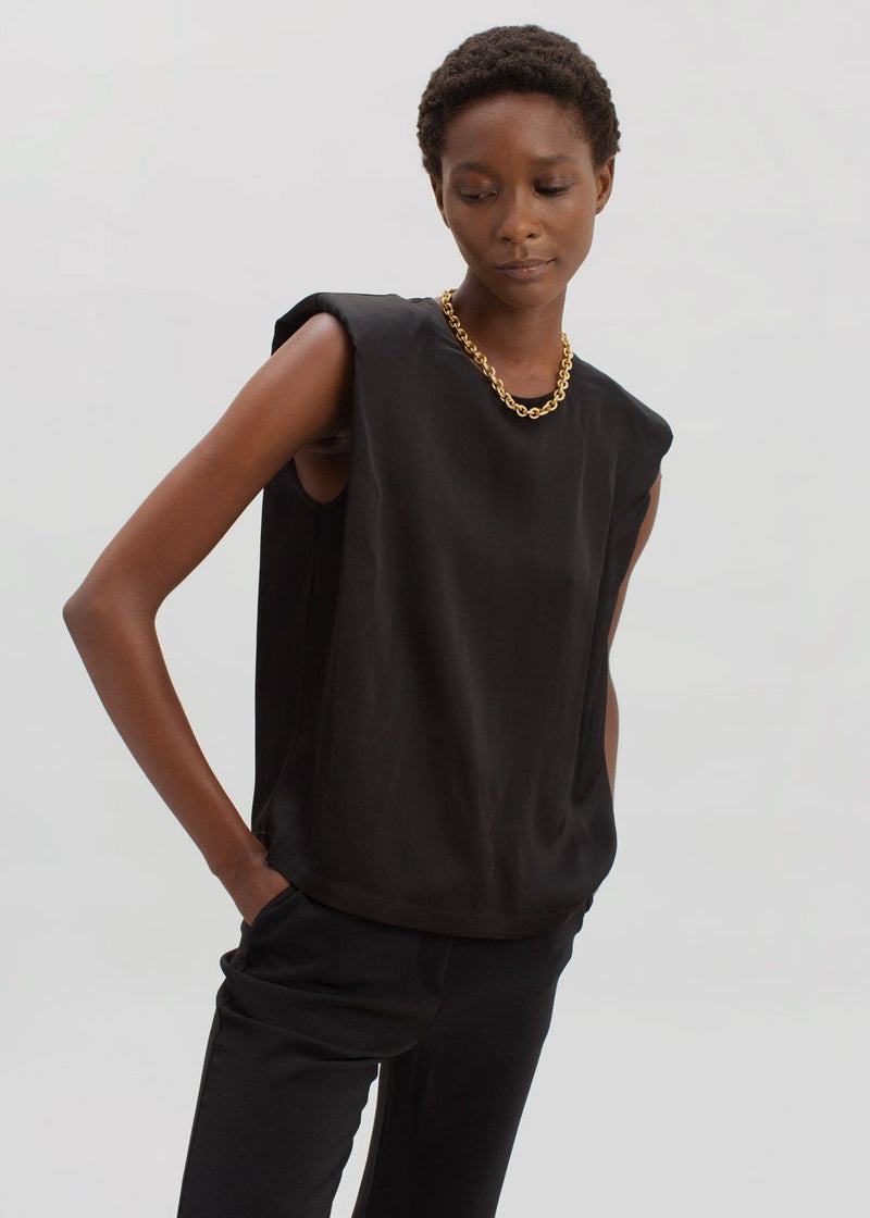 Secretary Muscle Tee by The Garment in Black Top The Garment