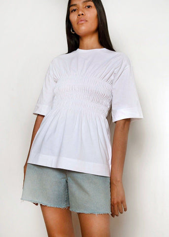 Shirred Cotton Top by Ganni- Bright White Shirt Ganni