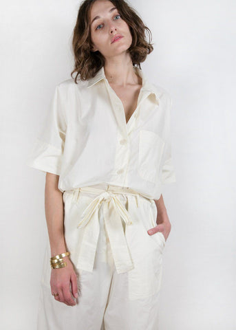 Short Sleeve Boiler Suit in Pale Lemon Jumpsuit Beside You