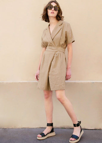 Short Sleeve Wrap Romper in Khaki Linen Jumpsuit More than