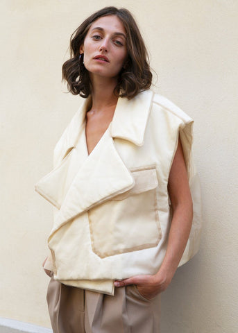 Silk Organza Sleeveless Jacket in Beige by Ter et Bantine jacket Ter et Bantine