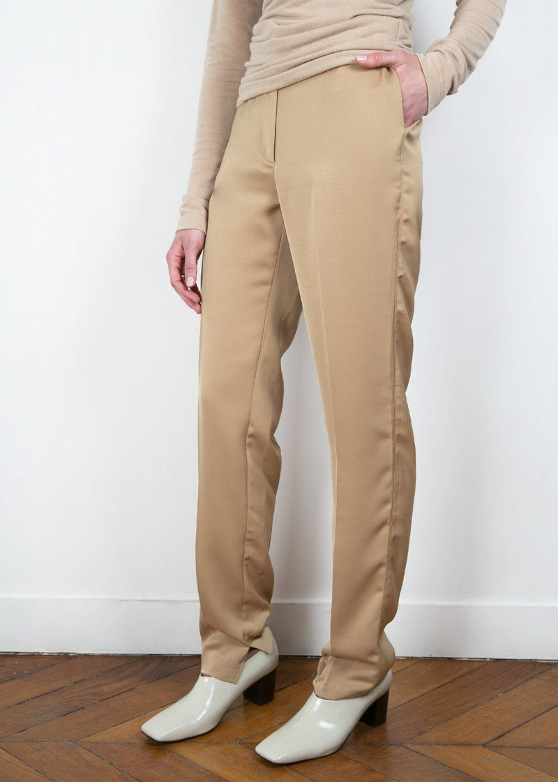 Silky Flat Front Trousers in Camel bottoms Be Plain